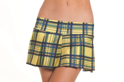 Yellow Pleated School Girl Skirt - Medium- Large