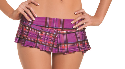 Purple Plaid Pleated Mini Skirt - Small- Medium