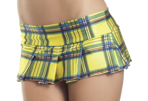 Yellow Plaid Pleated Mini Skirt - Medium- Large