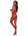 Open Cup Bodystocking - One Size - Lipstick Red