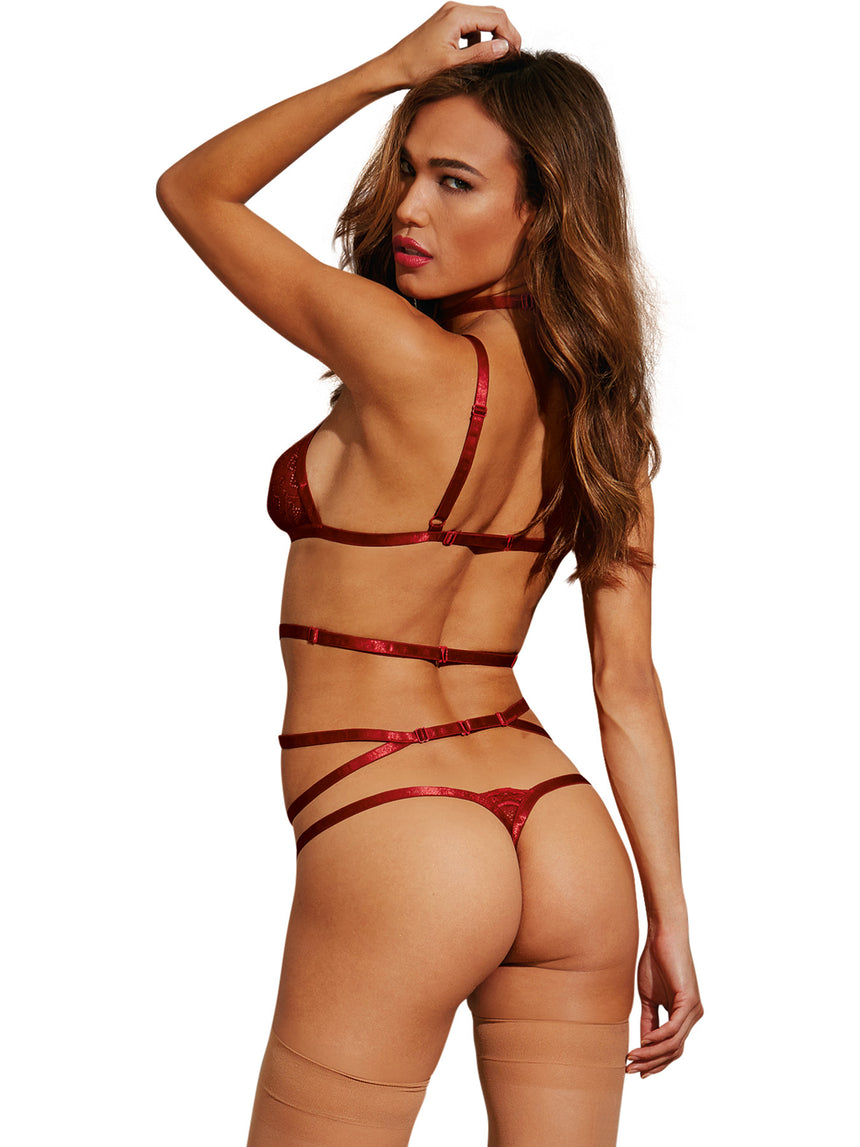 Collared Garter, G-String - One Size - Garnet