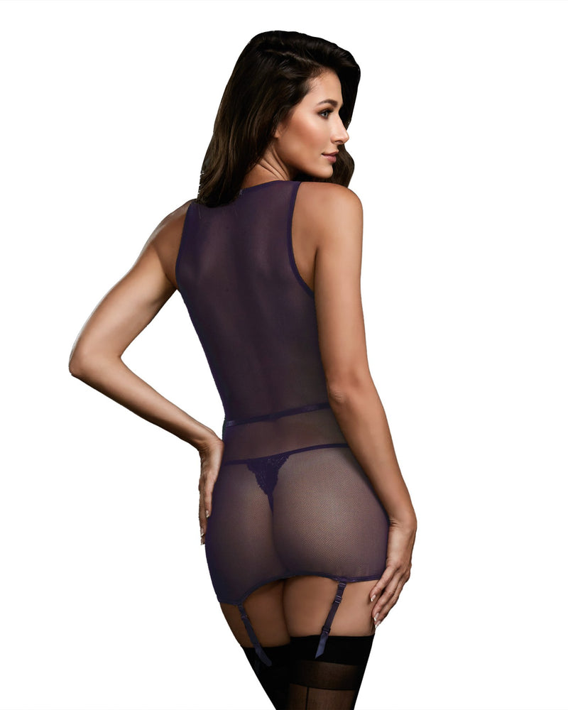 Garter Slip, G-String - Medium - Eggplant