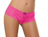 Open Crotch Lace Boy Short - Medium - Hot Pink