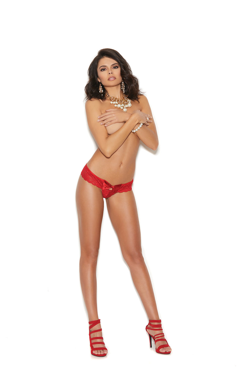 Lace Thong With Keyhole and Satin Bow Front - One Size - Red