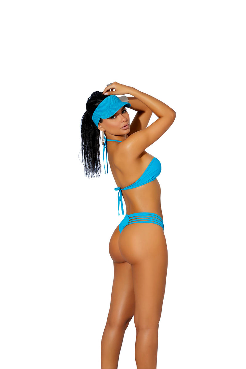 Lycra Bikini Top and Matching G-String - One Size - Turquiose