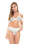 Wilhelmina Bralette Top & Panty - White - Small-  Medium