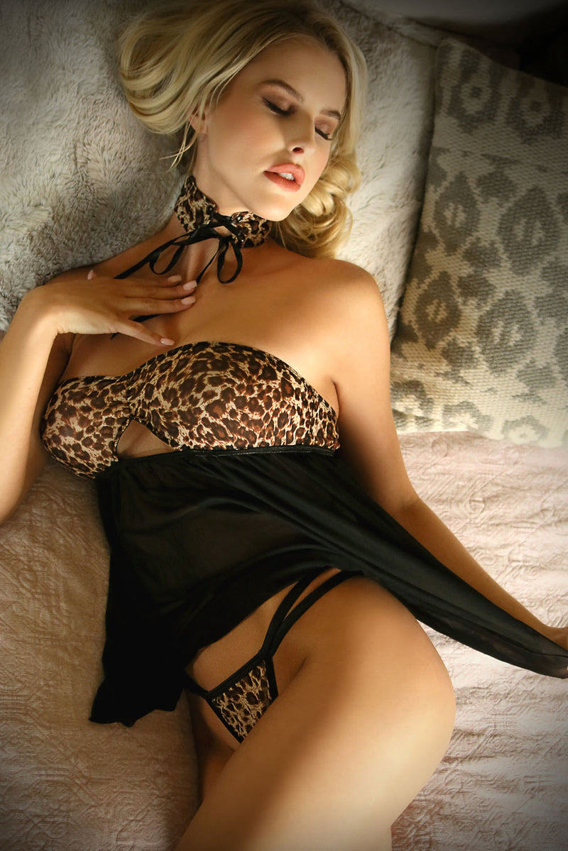 Wild Thoughts Babydoll, Panty & Lace Up Choker -  Leopard - Large- X-Large