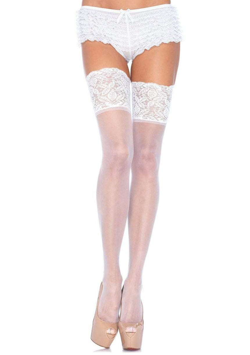 Stay Up Sheer Thigh Highs - One Size - White
