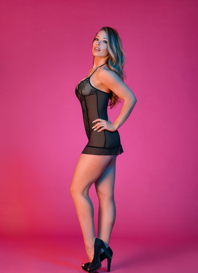 Sexy Time Chemise and G-String Set - Black - S-m