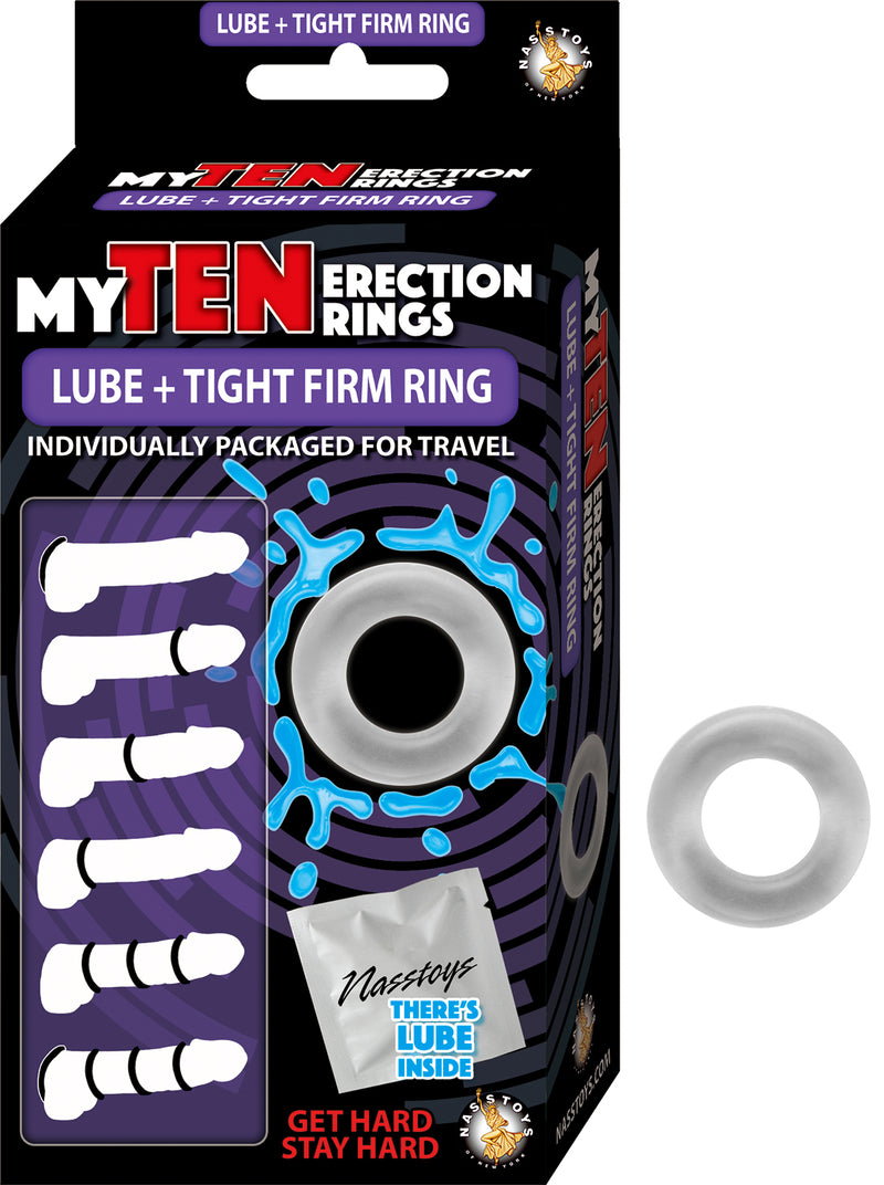 My Ten Erection Rings Lube + Tight Firm Ring -  Clear