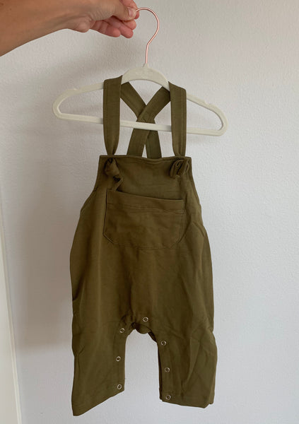 Overalls in Tan & Green