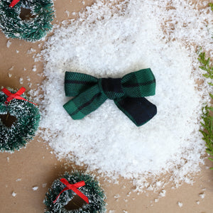 Green Plaid School Girl Bow - Christmas Collection