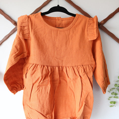 Bloom Long Sleeve Onesie in Toasted Orange
