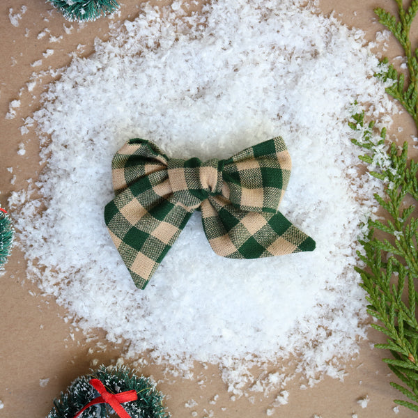 Green Checkered Lola Bow - Christmas Collection