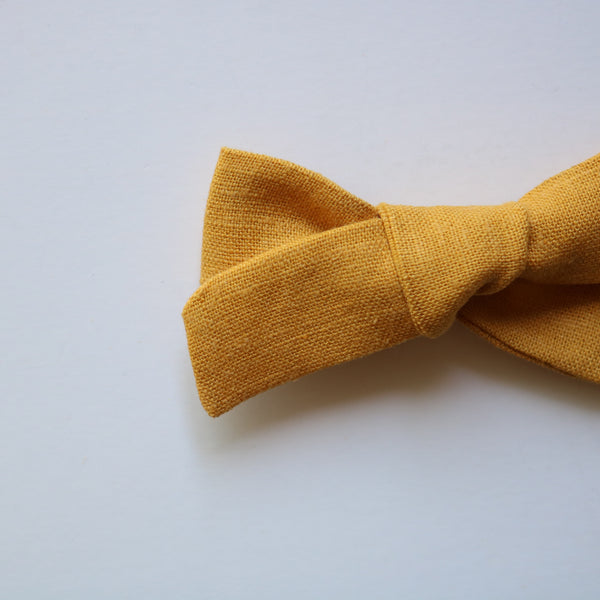 Honey Mustard Linen School Girl Bow