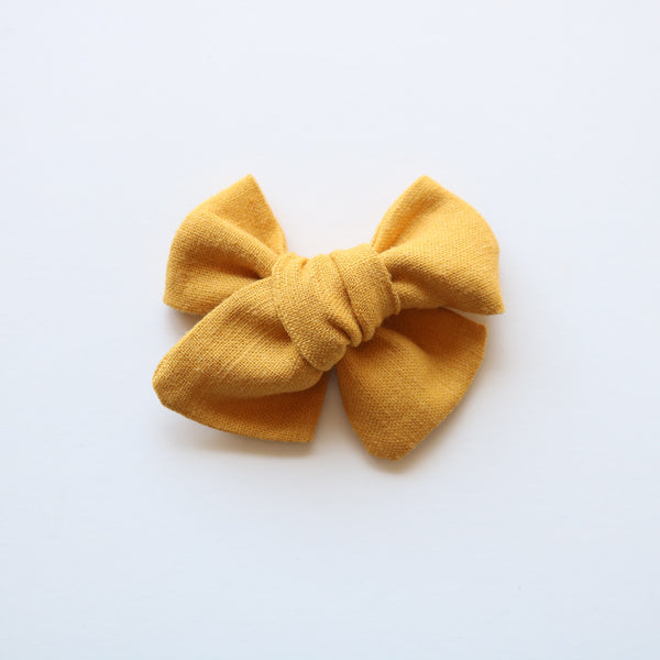Honey Mustard Linen Chunky Bow