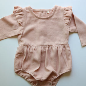 Autumn Ruffle Onesie In Soft Pink