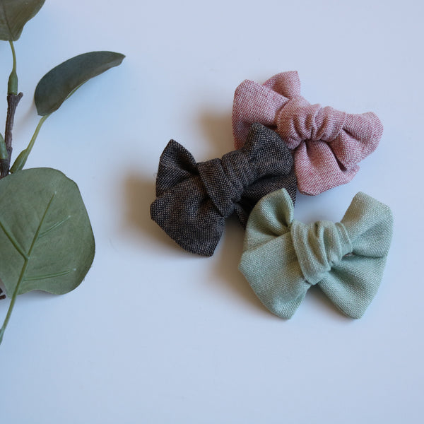 Linen Chunky Bow - Fall Collection