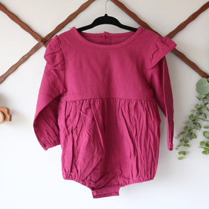 Bloom Long Sleeve Onesie in Plum