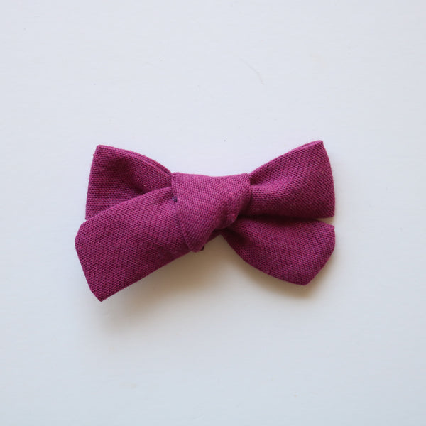 Beet Linen School Girl Bow