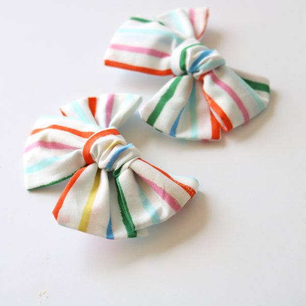 Rainbow Stripe Chunky Bow