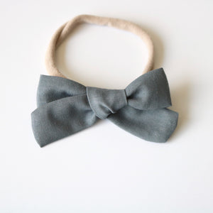 Light Gray School Girl Bow