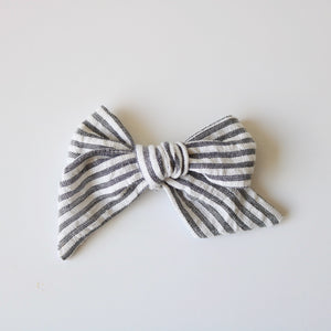 Gray & White Stripe Lola Bow