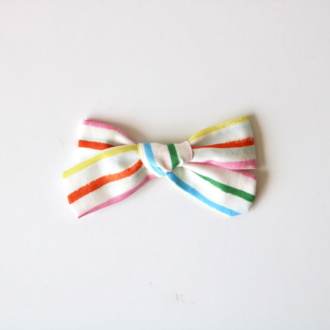 Rainbow Stripe School Girl Bow