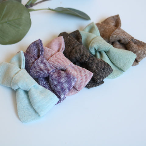Linen School Girl Bow - Fall Collection