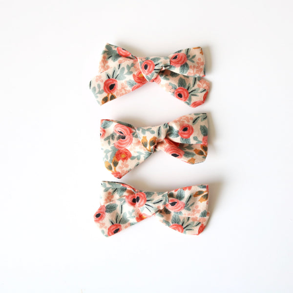 Peach Floral School Girl Bow
