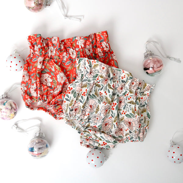 Winter Red Floral Bloomers