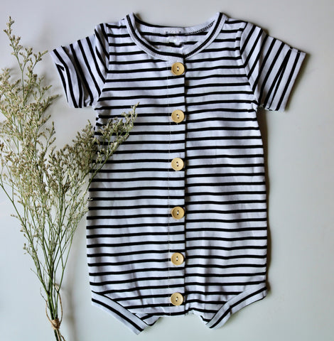 Lazy Days Romper in Black & White Stripe