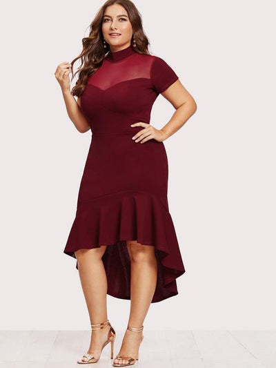 Plus Mesh Insert Frill Dip Hem Dress