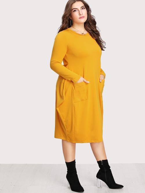Plus Dual Pocket Cocoon Dress