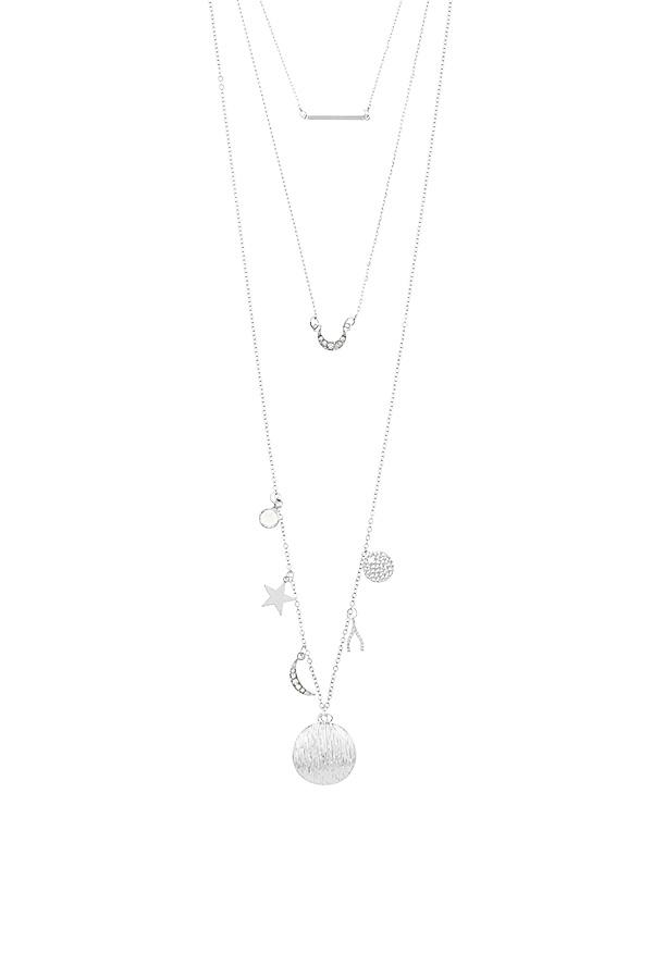 Star and moon theme three layer necklace