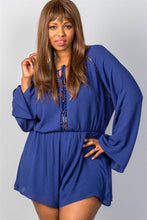 Plus Size Ladies Fashion Blue Long Sleeve Ladder Inset Romper