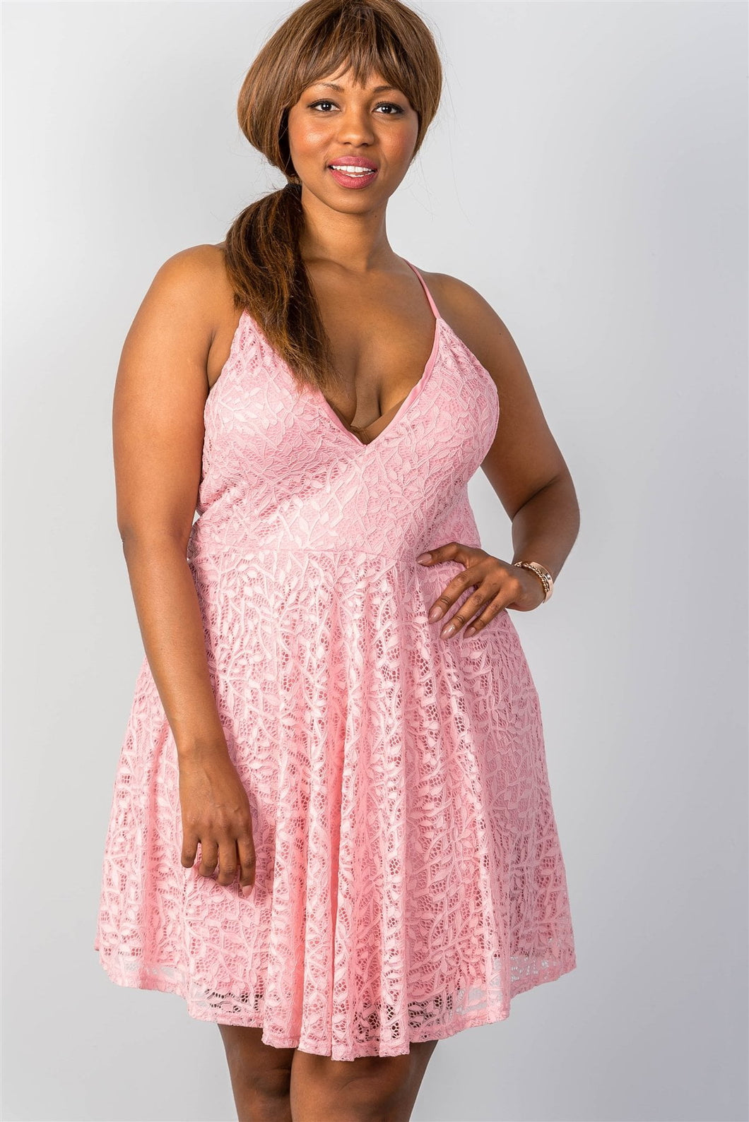 Ladies fashion plus size pink floral lace cami dress with lace-up back