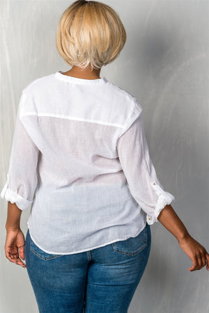 Roll-sleeve top with spike button detail