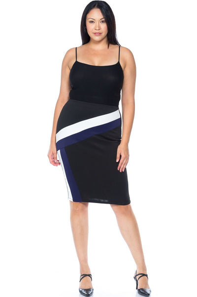 Plus Size Black Blue White Color Block Pencil Midi Skirt