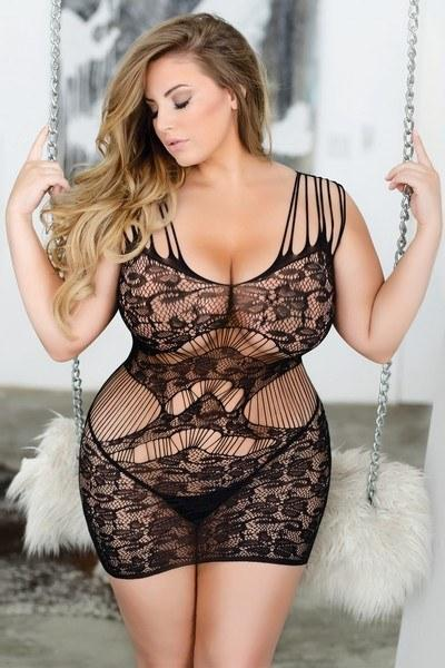 Feel sexy in this plus size sheer-lace bodystocking lingerie piece