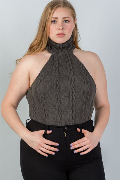Cable knit gray turtleneck sleeveless bodysuit