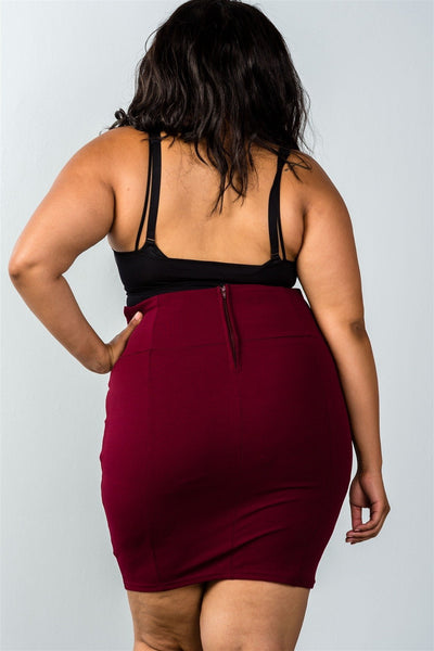Self tie lace-up burgundy pencil mini skirt