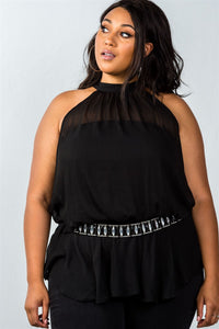 Plus Size Top features: sleeveless, partially lined, halter neck, rhinestone belt, back button closure. back tie