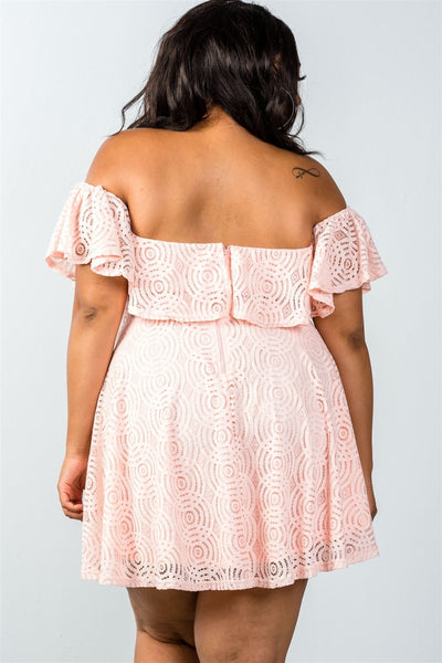 Lace overlay off-the-shoulder flounce dress
