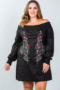 Floral embroidered off the shoulder tunic dress