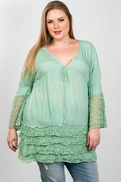 Lace hem v neck tunic top