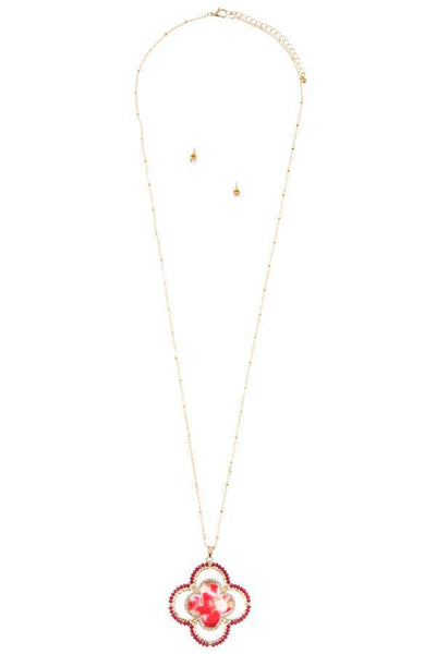 Faceted bead acetate clover pendant necklace set