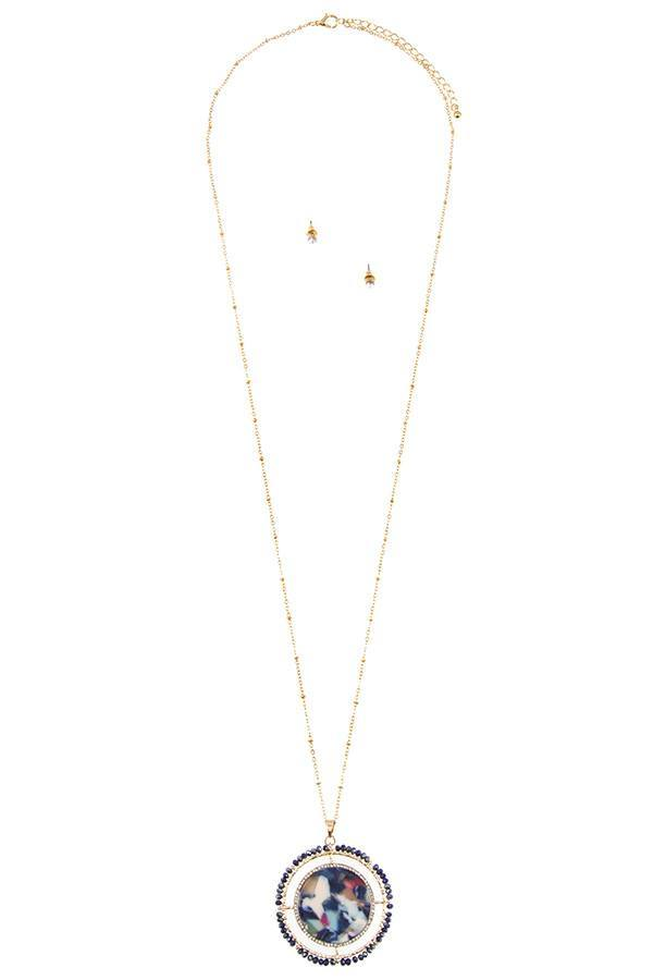 Faceted bead acetate circle pendant necklace set