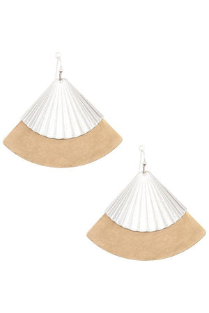 Drop fan shape dangle earring