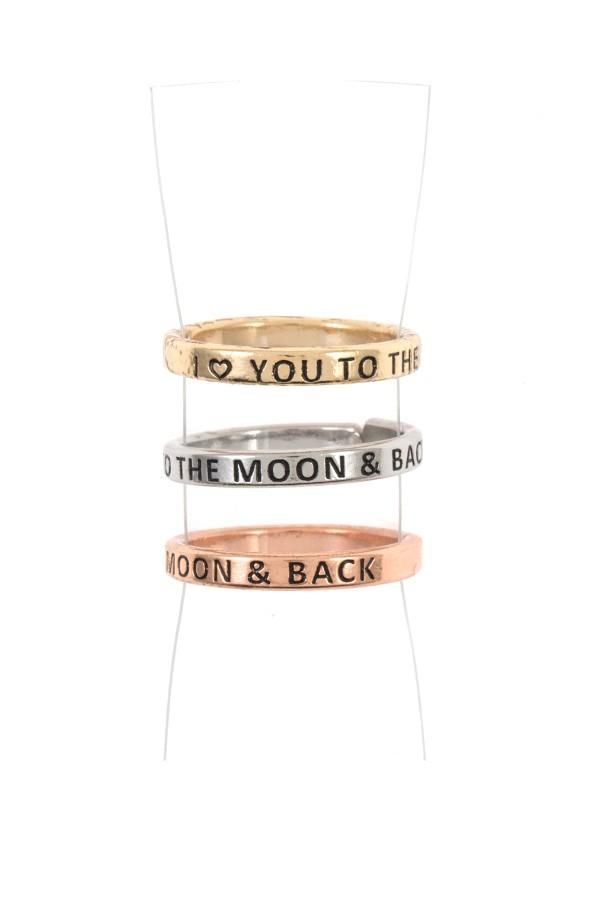 I love you to the moon and back ring set